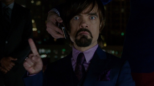 Peter Dinklage with Armani Collezioni Woven Paisley Silk Tie in The Boss