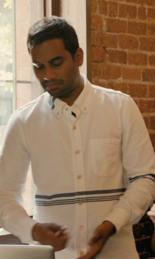 Aziz Ansari with Brooks Brothers Large Windowpane Button-Down Shirt in Master of None