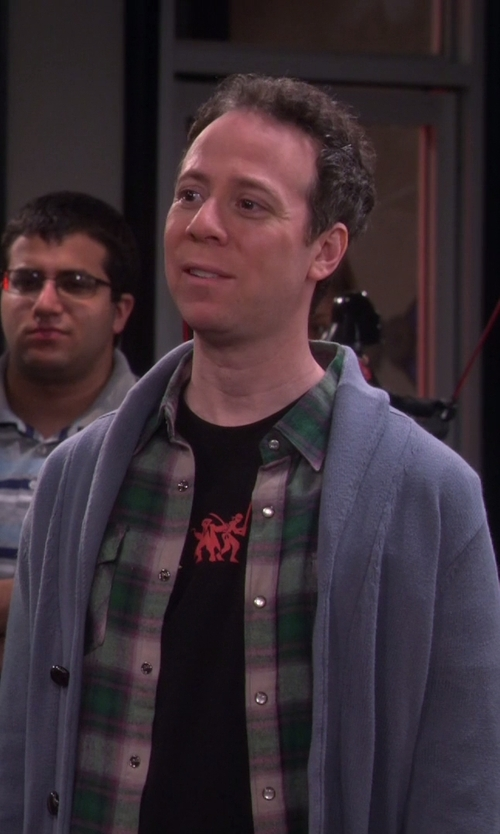 Kevin Sussman with Brunello Cucinelli Cotton Shawl Collar Button Front Cardigan in The Big Bang Theory