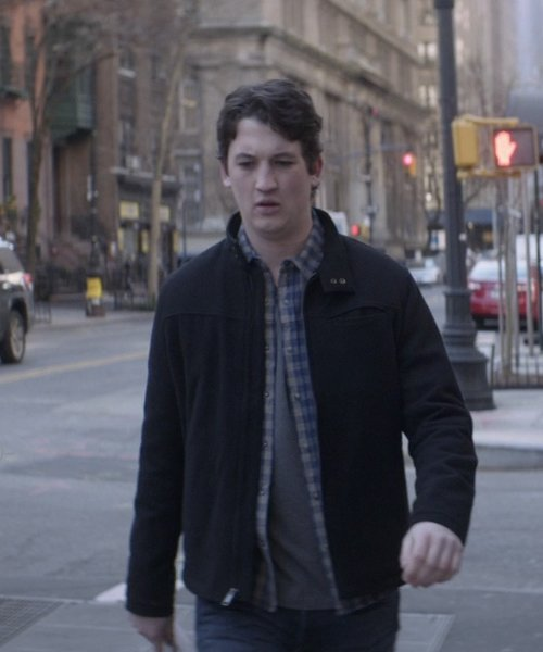 Miles Teller with Kenneth Cole New York Full Zip Knit Jacket in That Awkward Moment