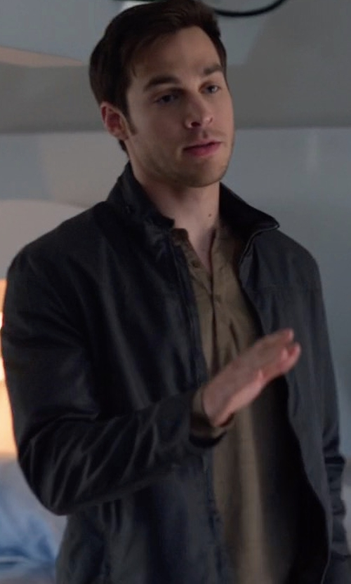 Chris Wood with Theory Kampers SFZ Neofil Front-Zip Jacket in Supergirl