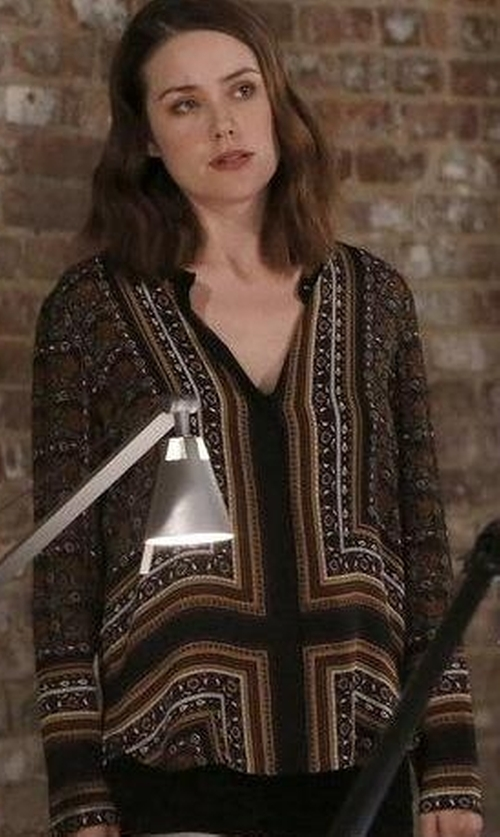 Megan Boone with Joie Rosalind Floral-Print Georgette Top in The Blacklist