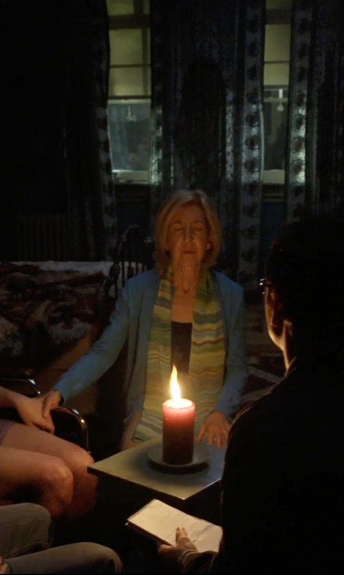 Lin Shaye with Missoni Striped Knit Zigzag Scarf in Insidious: Chapter 3