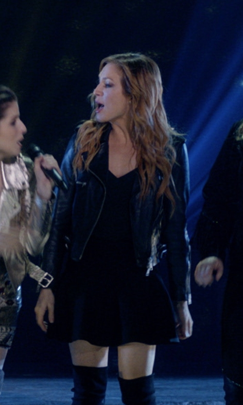 Brittany Snow with L'Agence Jane V-Neck Spaghetti-Strap Silk Tank Top in Pitch Perfect 3