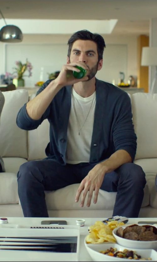 Wes Bentley with Maison Margiela Cotton And Wool-Blend Cardigan in We Are Your Friends