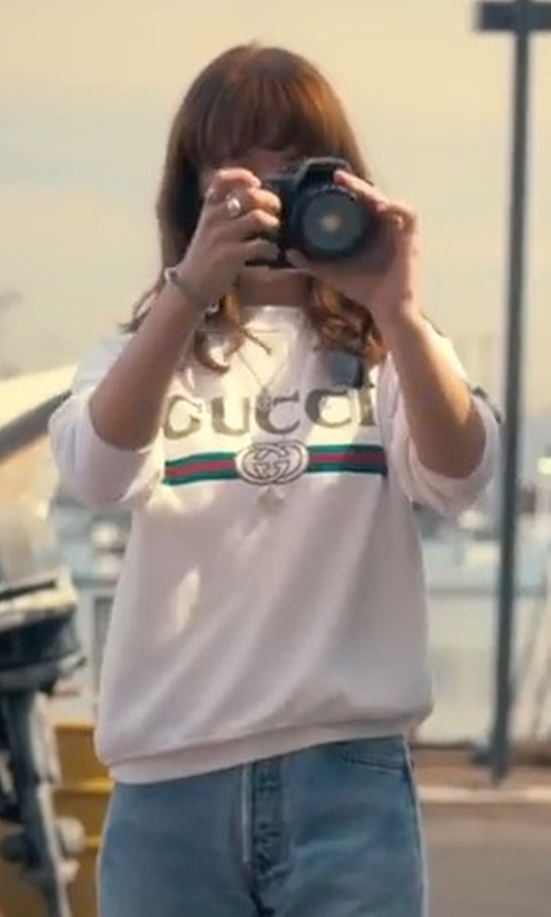 Britt Robertson with Gucci Vintage Crewneck Sweater in Girlboss