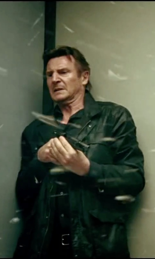 Liam Neeson with Forzieri Black Leather 3-Button Blazer Jacket in Taken 3