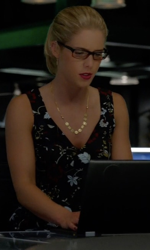 Emily Bett Rickards with A.L.C. 'Purcell' Floral Print Sleeveless Silk Top in Arrow