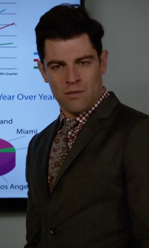 Max Greenfield with Armani Collezioni Pattern Tie in New Girl