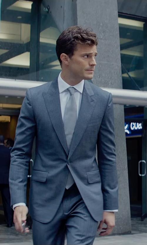 Jamie Dornan with Mark Bridges (Costume Designer) Custom Made Gray Pinstripe Suit in Fifty Shades of Grey