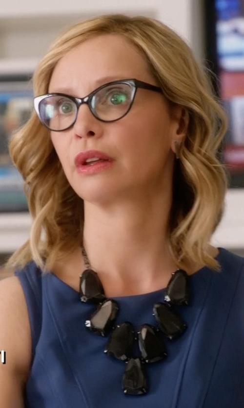Calista Flockhart with Prada Cat-Eye Contrast-Arm Fashion Glasses in Supergirl