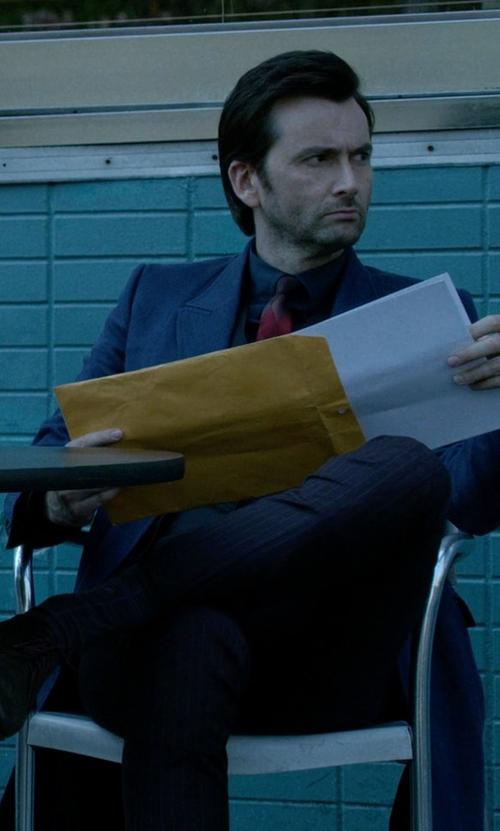 David Tennant with Wool 172 Stripe Casual Pants in Jessica Jones
