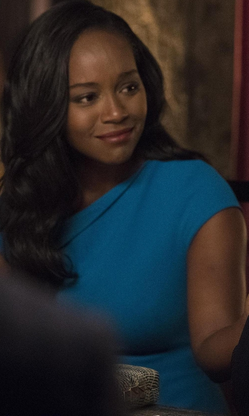 Aja Naomi King with Michael Kors Stretch Wool-Crepe Cap-Sleeve Sheath Dress in How To Get Away With Murder