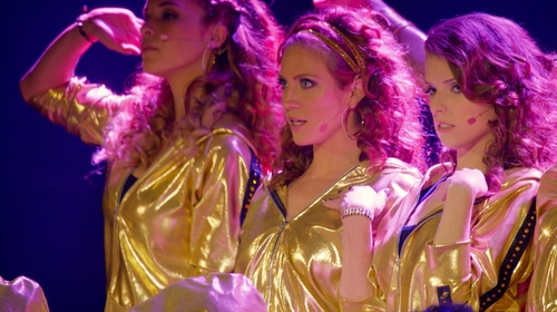Alexis Knapp with Custom Gold Lame Jacket in Pitch Perfect 2