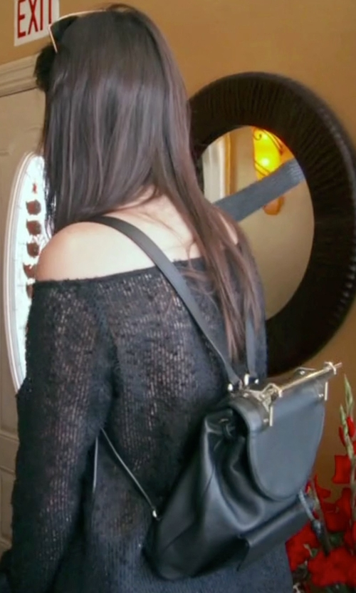 Kendall Jenner with M2Malletier Grained Leather Drawstring Backpack in Keeping Up With The Kardashians