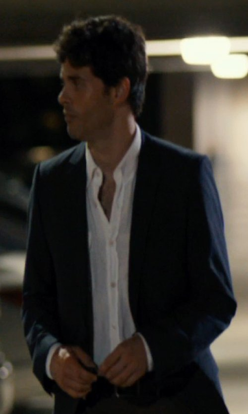 James Marsden with Brioni Micro-Stripe Dress Shirt in The Loft