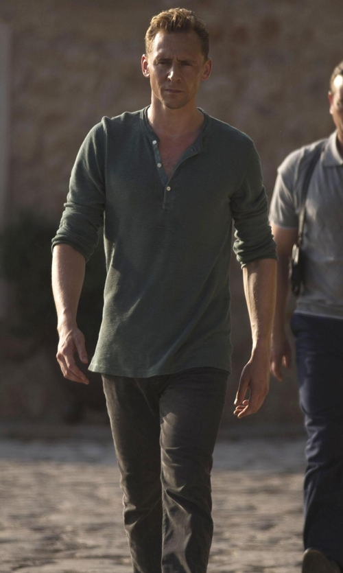 Tom Hiddleston with Diesel Chi Tight E Slim Fit Washed Chinos in The Night Manager