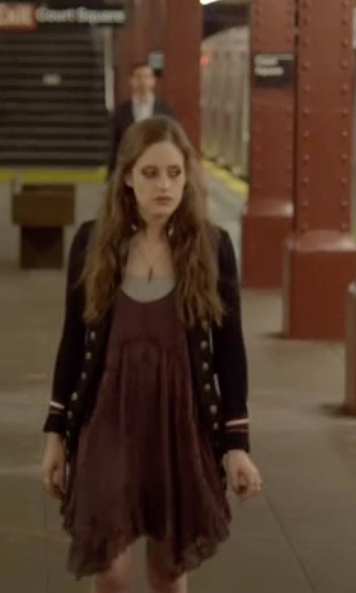 Carly Chaikin with York Street Lace Up Cami Dress in Mr. Robot