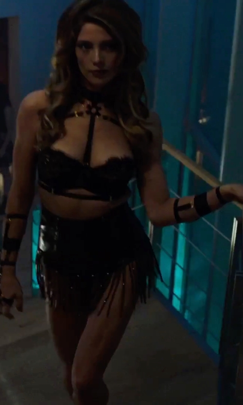 Ashley Greene with Jakimac Hold Up Leather Harness in Urge