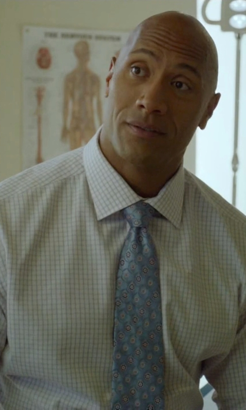 Dwayne Johnson with David Donahue Trim Fit Check Dress Shirt in Ballers