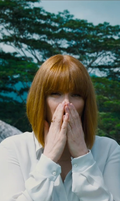Bryce Dallas Howard with Anto Beverly Hills Custom Button Up Blouse in Jurassic World