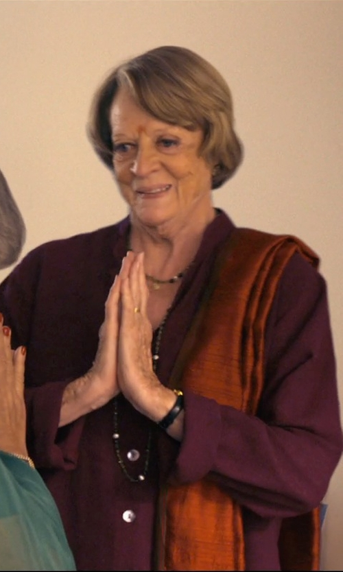 Maggie Smith with Haute Hippie Loose Long-Sleeve Silk Blouse in The Second Best Exotic Marigold Hotel
