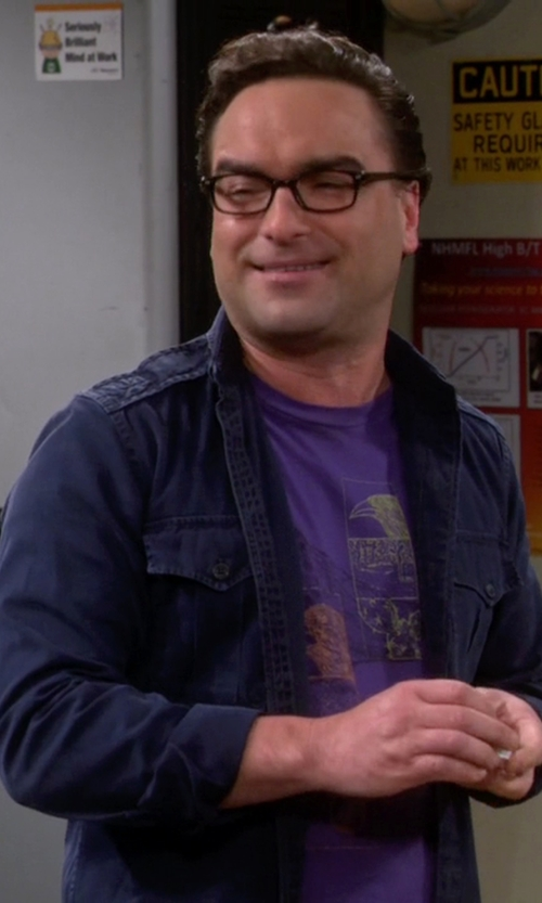 Johnny Galecki with Brooks Brothers Wool Shirt Jacket in The Big Bang Theory