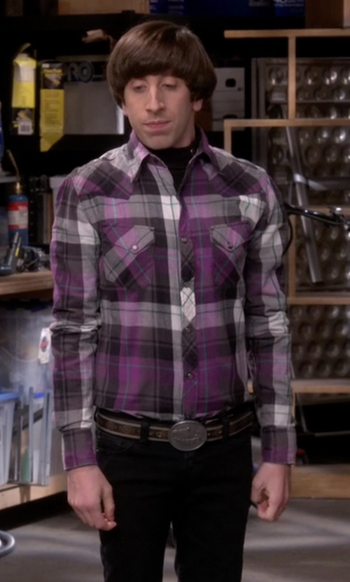 Simon Helberg with Peter Millar Yorkshire Plaid Sport Shirt in The Big Bang Theory