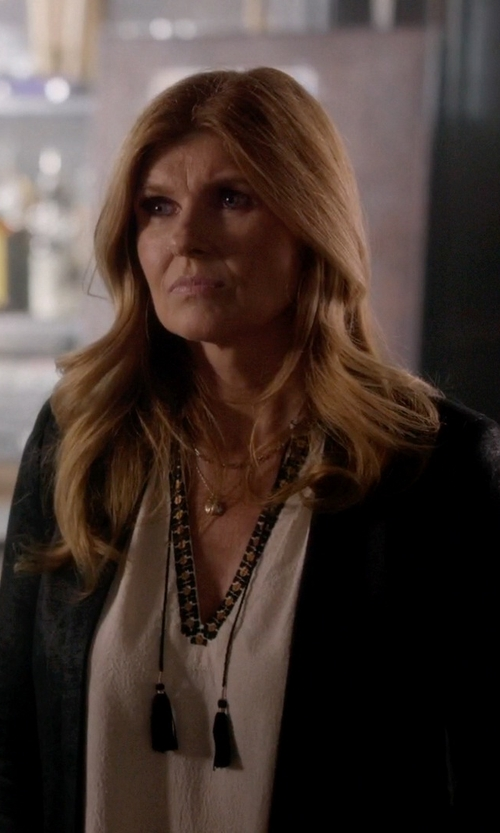Connie Britton with Label+Thread Tweed Trim Tunic Top in Nashville