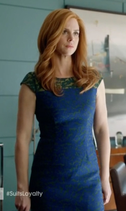 Sarah Rafferty with Shoshanna Mariah Lace Dress in Suits
