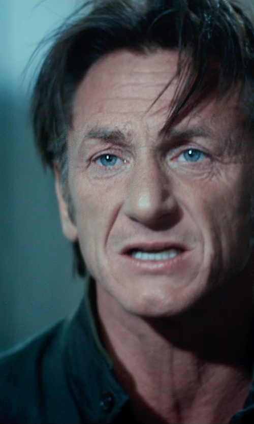 Sean Penn with Kenneth Cole Reaction Bonded Moto Jacket in The Gunman