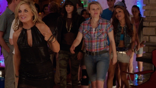 Kate McKinnon with Virgin Only Women's Slim Fit Stretch Denim Bermuda Shorts in Sisters