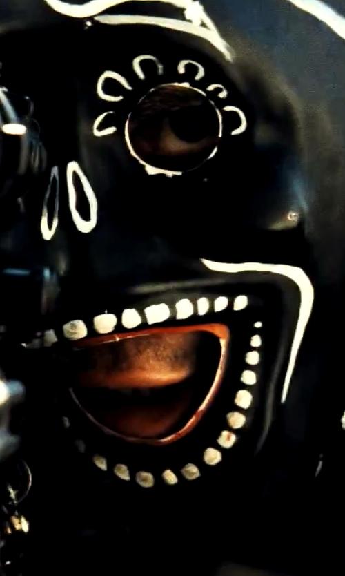 Taylor Kitsch with Cindy Evans (Costume Designer) Custom Made Black Día de Muertos Mask in Savages