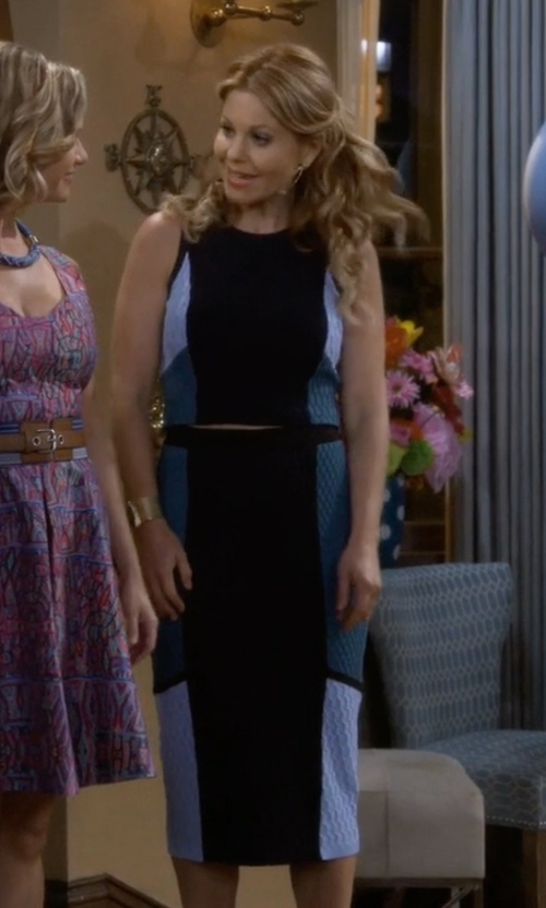 Candace Cameron Bure with Jonathan Simkhai Color-Block Textured-Knit Skirt in Fuller House