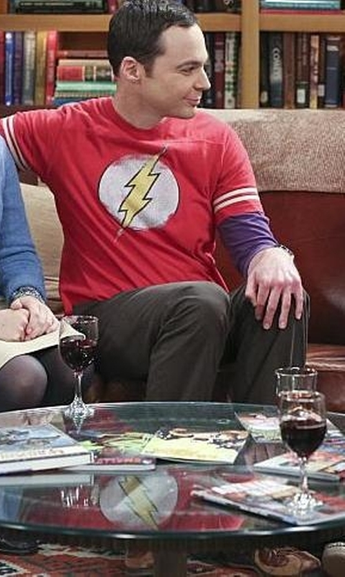 Jim Parsons with TV Store Online The Flash Distressed Logo T-Shirt in The Big Bang Theory