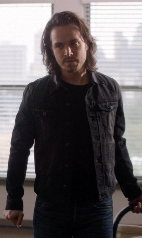 Jonathan Jackson with All Saints Bond Denim Jacket in Nashville