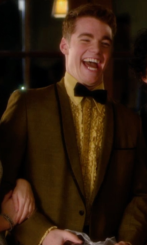 Gabriel Basso with Halloween Costumes Yellow Ruffled Tuxedo Shirt in Barely Lethal