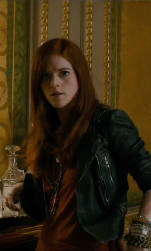 Rose Leslie with ABS by Allen Schwartz Gold Tone Plated Brass Bangles in The Last Witch Hunter