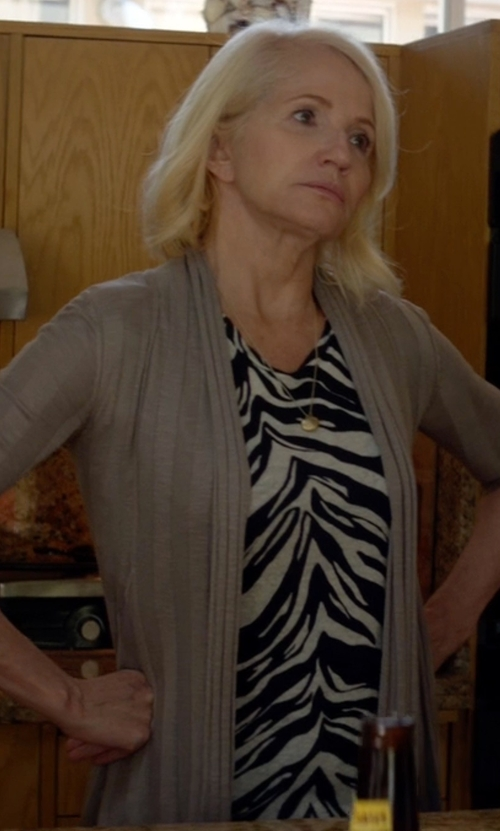 Ellen Barkin with Feel The Piece Viviana Tie Dye Long Sleeve Top in Animal Kingdom
