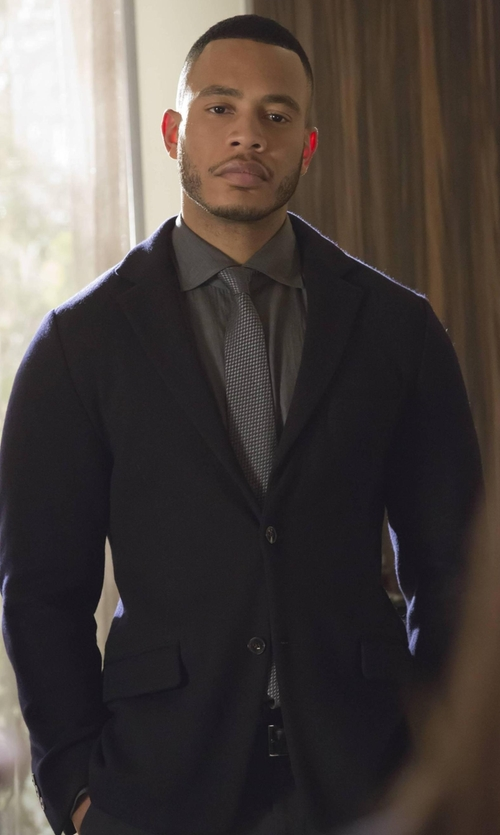 Trai Byers with Band of Outsiders Two-Button Sport Jacket in Empire