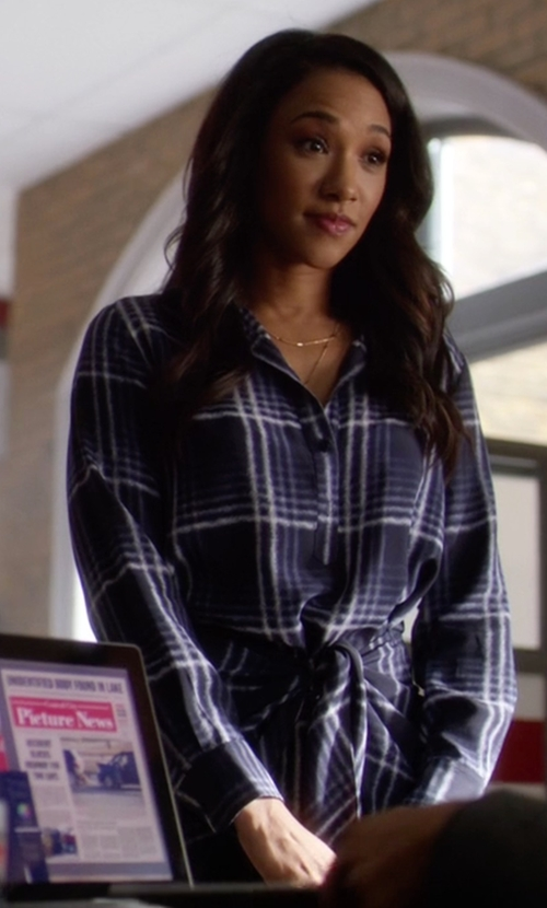 Candice Patton with Club Monaco Ladore Tie Front Dress in The Flash