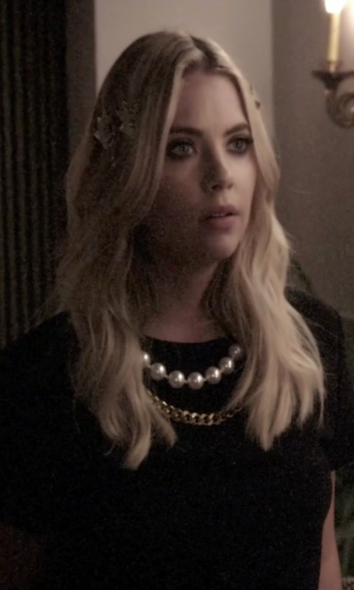 Ashley Benson with Boutique Moschino Chain And Faux Pearl Trim Top in Pretty Little Liars