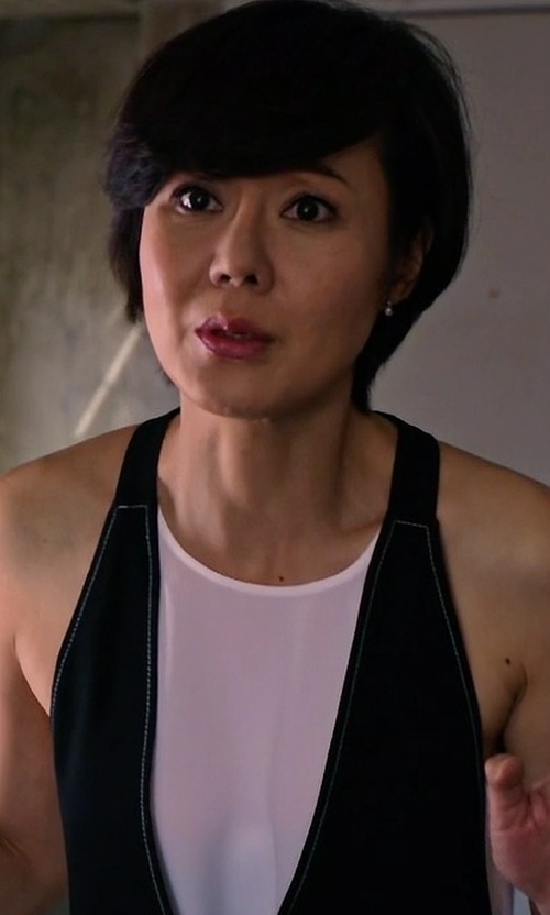 Yunjin Kim with BCBGMAXAZRIA Marcelle Tank with Attached Vest in Mistresses