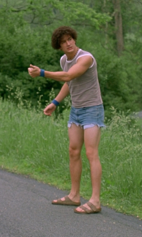 Ken Marino with Topman Light Wash Raw Edge Skinny Fit Denim Shorts in Wet Hot American Summer