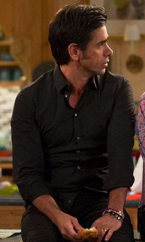 John Stamos with Stone Rose Solid Long-Sleeve Shirt in Fuller House