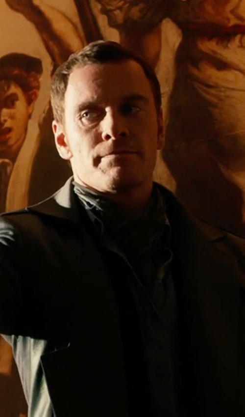Michael Fassbender with Brunello Cucinelli Plaid Cashmere Men's Scarf in X-Men: Days of Future Past