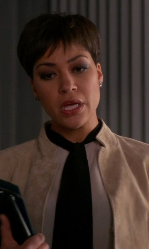 Cush Jumbo with Ivanka Trump Faux Suede Bomber Jacket in The Good Wife