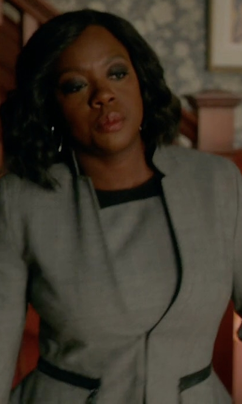 Viola Davis with Akris Punto Jersey Trim Wool Sheath Dress in How To Get Away With Murder
