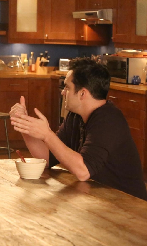 Jake Johnson with Billy Reid Sanders Henley Shirt in New Girl