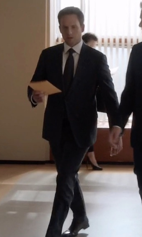 Patrick J. Adams with Giorgio Armani Rubber-Bottom Dress Oxford Shoes in Suits